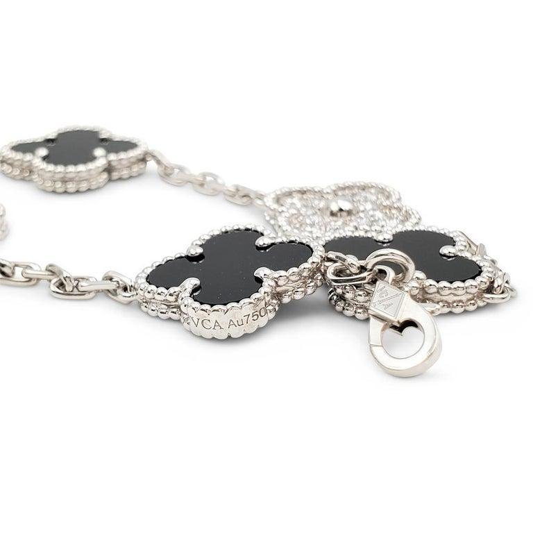 Mixed Cut Van Cleef & Arpels Alhambra 18k White Gold Diamond Onyx Bracelet For Sale