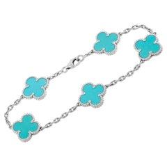 Van Cleef & Arpels Alhambra 18K White Gold Turquoise Bracelet