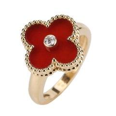 Van Cleef & Arpels Alhambra 18K Yellow Gold Carnelian Diamond Ring