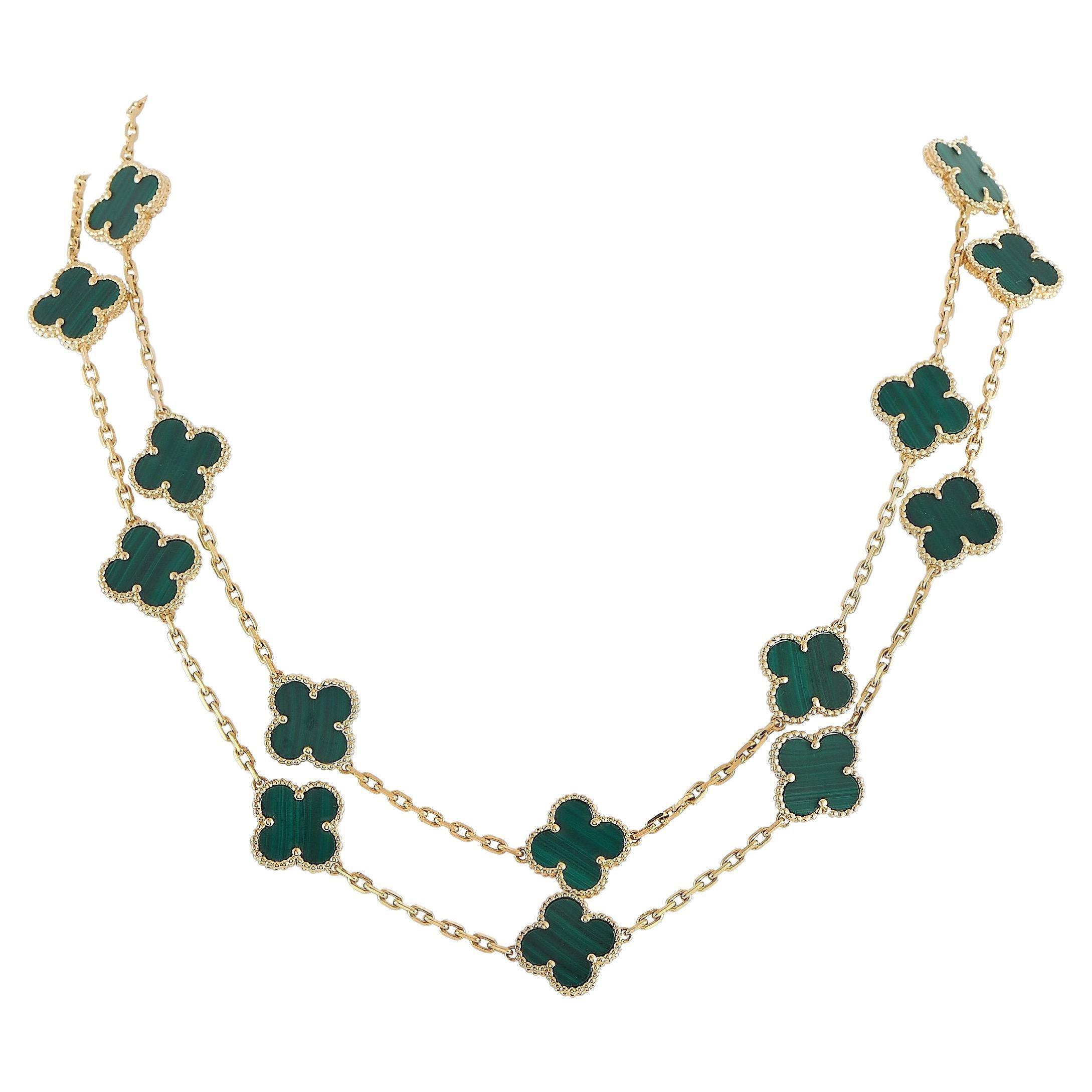 Van Cleef & Arpels Alhambra 18K Yellow Gold Malachite 20 Motif Necklace