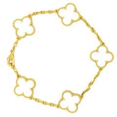 Van Cleef & Arpels Alhambra 5 Motif Bracelet 18 Karat Gold Mother of Pearl
