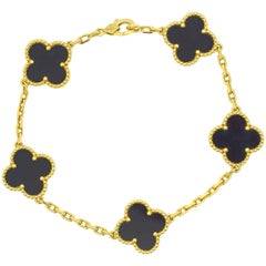 Van Cleef & Arpels Alhambra 5 Motif Bracelet Yellow Gold Black Onyx