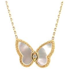 Van Cleef & Arpels Alhambra Butterfly Mother of Pearl and Diamond Necklace