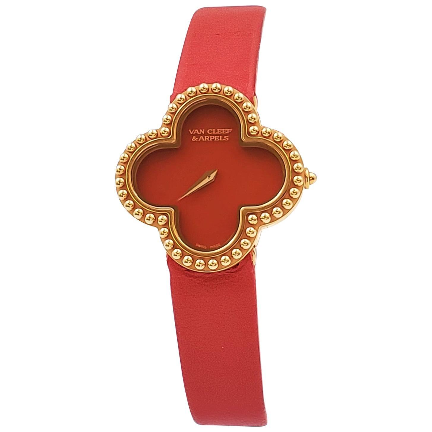 Van Cleef & Arpels 'Alhambra' Carnelian Dial Watch, Small Model