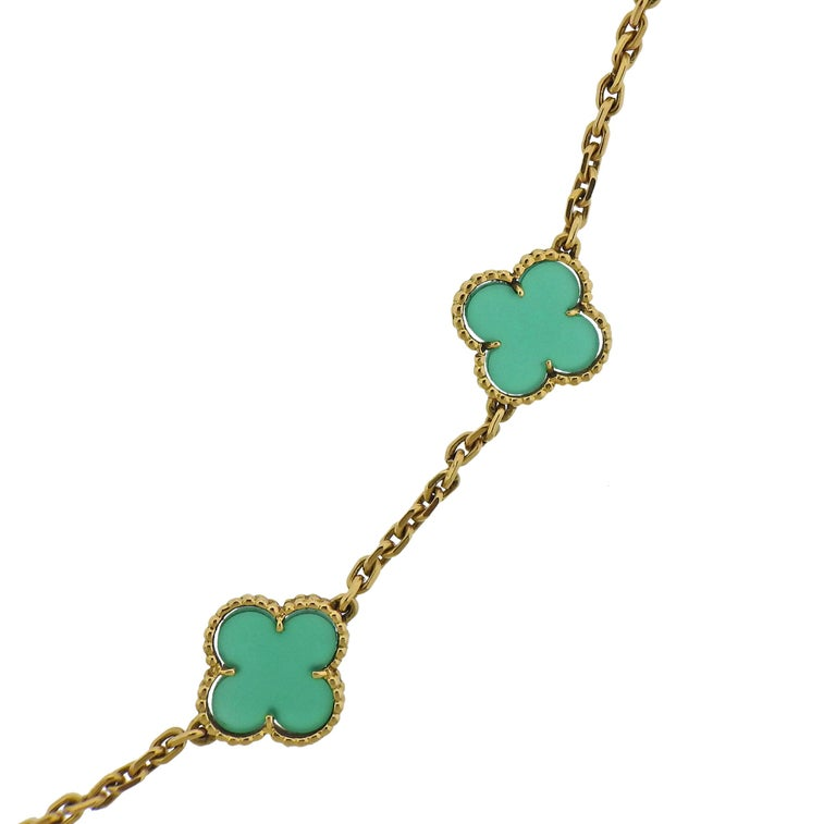 Iconic Vintage Alhambra necklace by Van Cleef & Arpels, featuring twenty chrysoprase clovers. Comes with a VCA pouch.  Necklace is 32