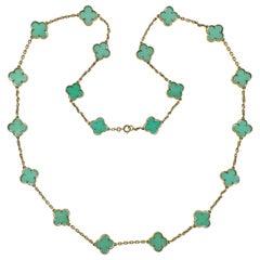 Van Cleef & Arpels Alhambra Chrysoprase 20 Motif Necklace