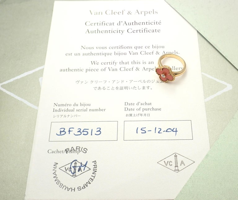 Van Cleef & Arpels Alhambra Coral Diamond Yellow Gold Ring In Excellent Condition For Sale In Holland, PA