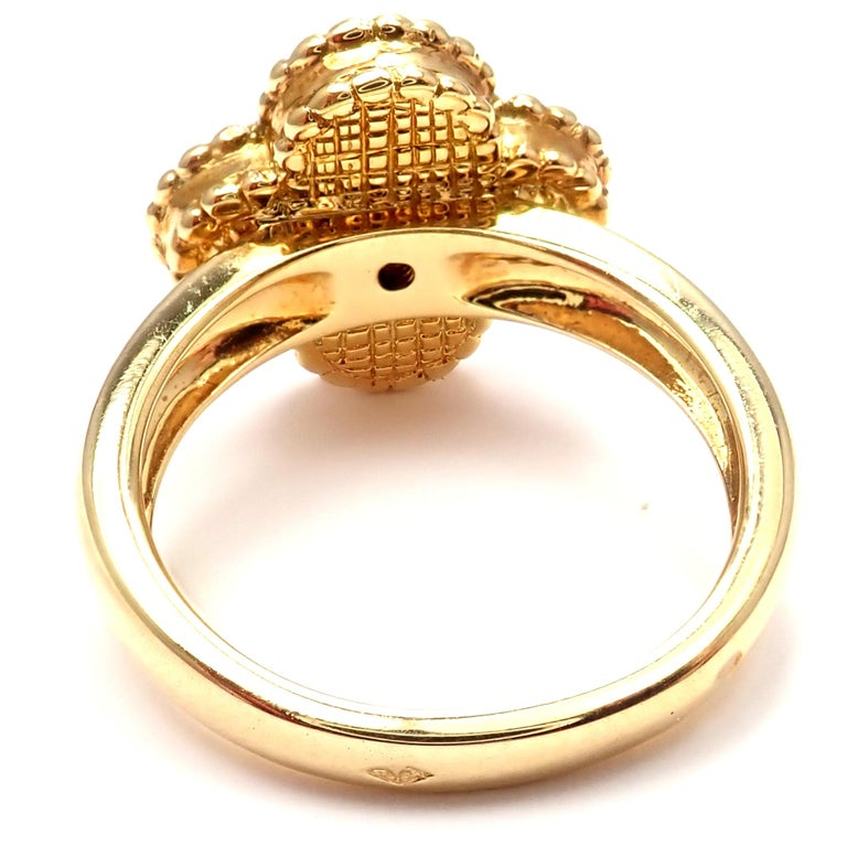 Van Cleef & Arpels Alhambra Coral Diamond Yellow Gold Ring For Sale 2