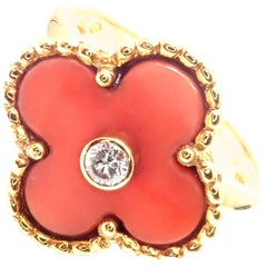 Van Cleef & Arpels Alhambra Coral Diamond Yellow Gold Ring