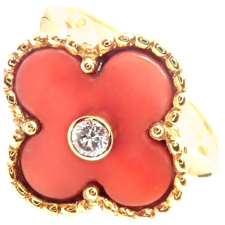 Van Cleef & Arpels Alhambra Coral Diamond Yellow Gold Ring For Sale