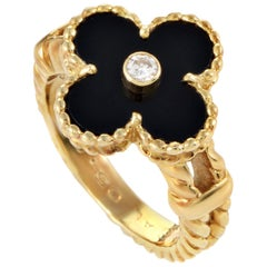 Van Cleef & Arpels Alhambra Diamond and Onyx Gold Ring