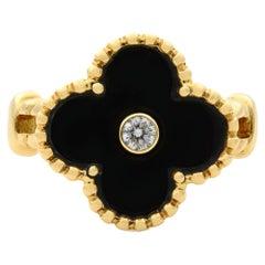 Van Cleef & Arpels Alhambra Diamond Onyx 18 Karat Yellow Gold Ring