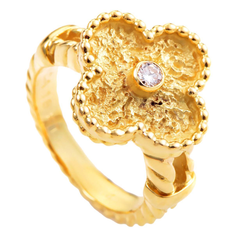 Van Cleef & Arpels Alhambra Diamond Yellow Gold Ring