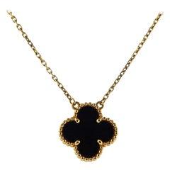 Van Cleef & Arpels Alhambra Gold Onyx Pendant Necklace