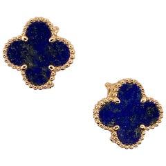 Van Cleef & Arpels Alhambra Lapis Lazuli Clover 18 Karat Yellow Gold Earrings