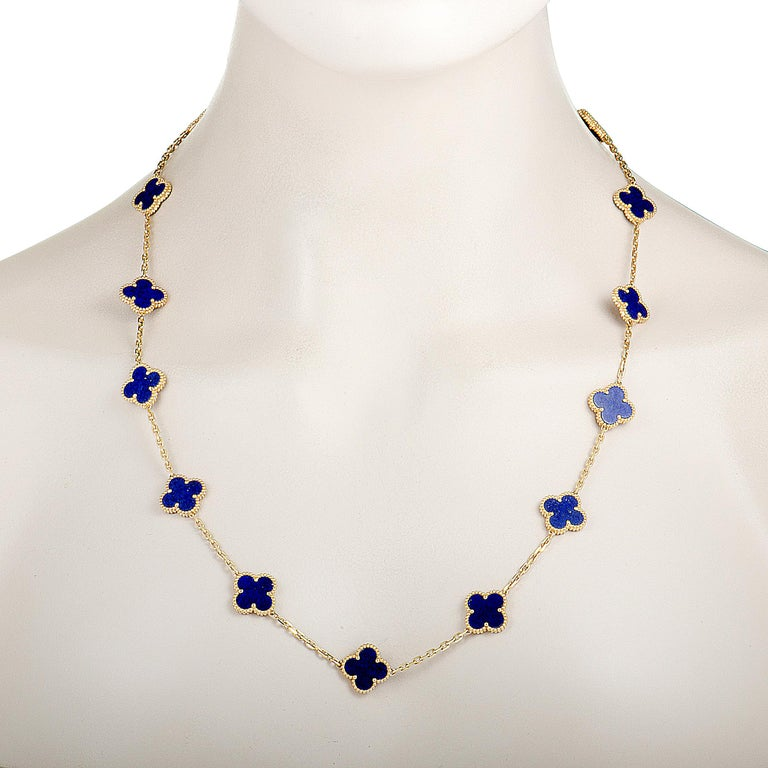 Van Cleef & Arpels Alhambra Lapis Lazuli Yellow Gold 20-Motif Necklace In Excellent Condition For Sale In Southhampton, PA