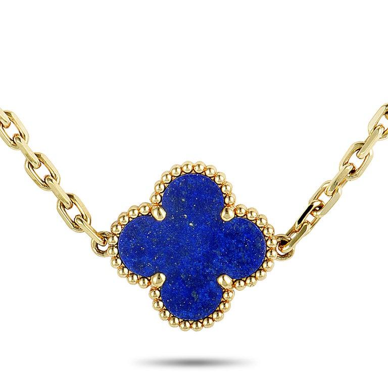 Women's Van Cleef & Arpels Alhambra Lapis Lazuli Yellow Gold 20-Motif Necklace For Sale