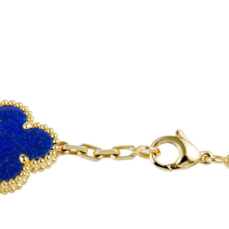 Van Cleef & Arpels Alhambra Lapis Lazuli Yellow Gold 20-Motif Necklace For Sale 1