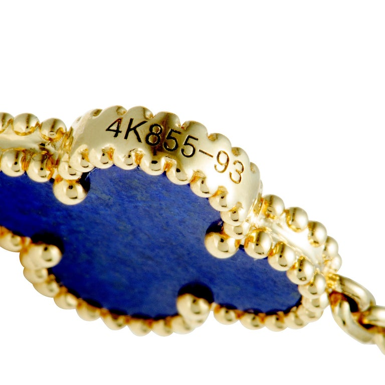 Van Cleef & Arpels Alhambra Lapis Lazuli Yellow Gold 20-Motif Necklace For Sale 2