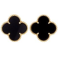Van Cleef & Arpels Alhambra Large 18 Karat Yellow Gold Onyx Clip-On Earrings