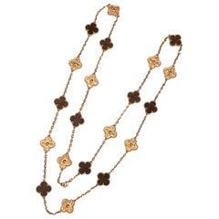 Van Cleef & Arpels Alhambra Limited Edition Letterwood 18k 20 Motif Necklace