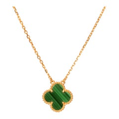 Van Cleef & Arpels Alhambra Malachite 18 Karat Yellow Gold Pendant Necklace
