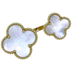 Van Cleef & Arpels Alhambra Mother of Pearl 18 Carat Yellow Gold Ring