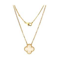 Van Cleef & Arpels Alhambra Mother of Pearl and 18 Karat Gold Pendant Necklace