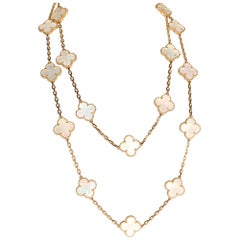 Van Cleef & Arpels Alhambra Mother of Pearl Necklace in 18 Karat Yellow Gold
