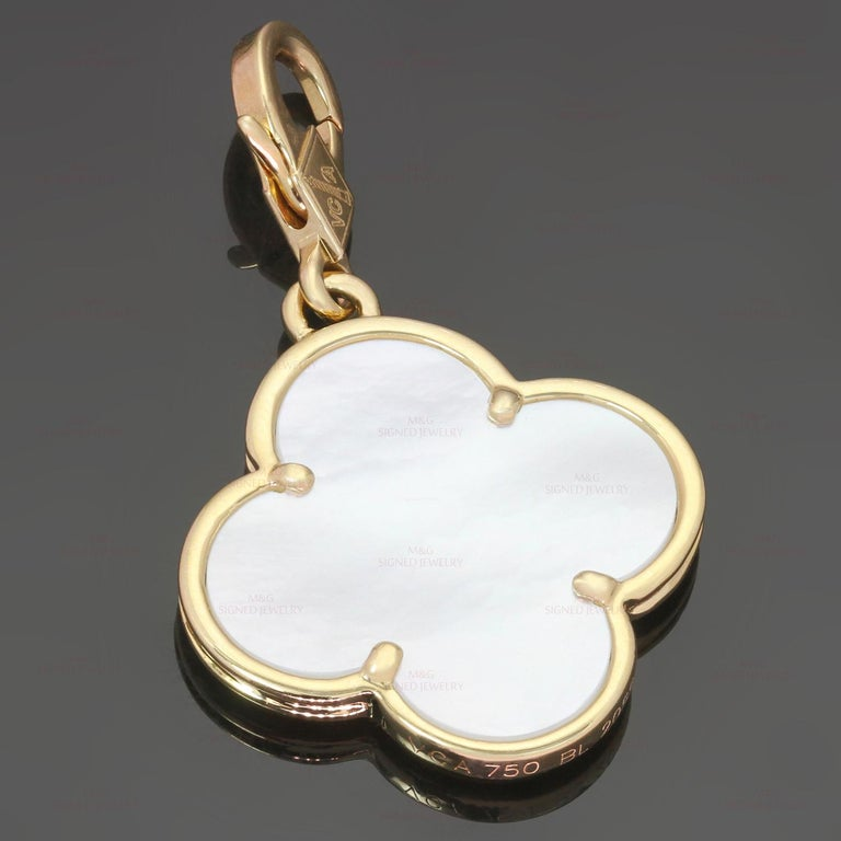 Van Cleef & Arpels Alhambra Mother of Pearl Yellow Gold Large Pendant In Excellent Condition For Sale In New York, NY