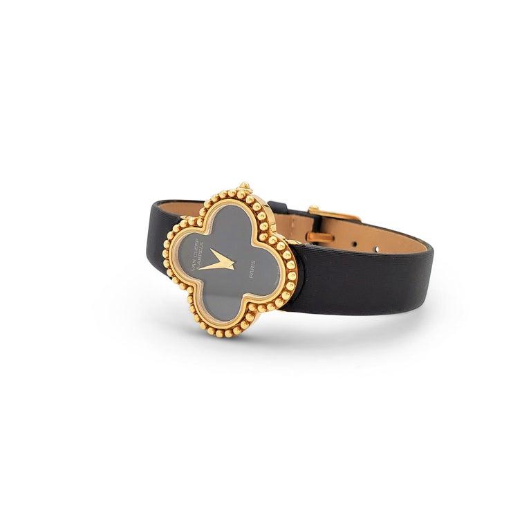 Uncut Van Cleef & Arpels 'Alhambra' Onyx Dial Watch, Small Model For Sale
