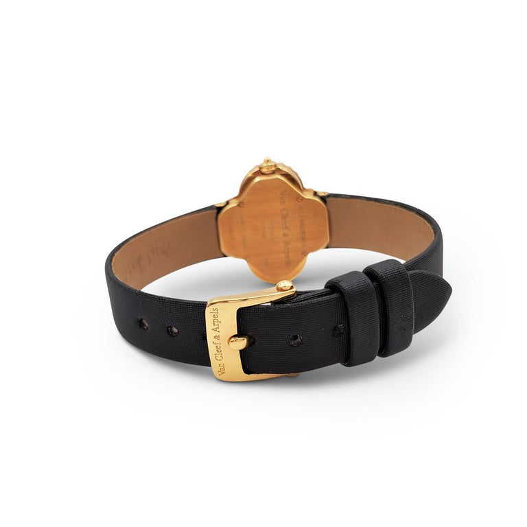 Van Cleef & Arpels 'Alhambra' Onyx Dial Watch, Small Model In Excellent Condition For Sale In New York, NY
