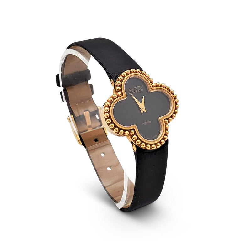 Women's Van Cleef & Arpels 'Alhambra' Onyx Dial Watch, Small Model For Sale