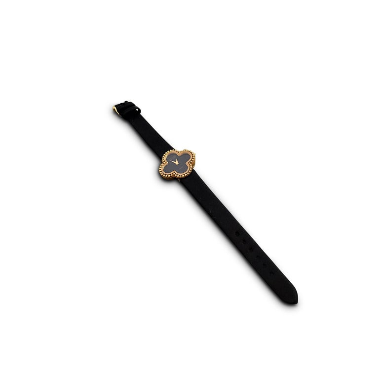 Van Cleef & Arpels 'Alhambra' Onyx Dial Watch, Small Model For Sale 1