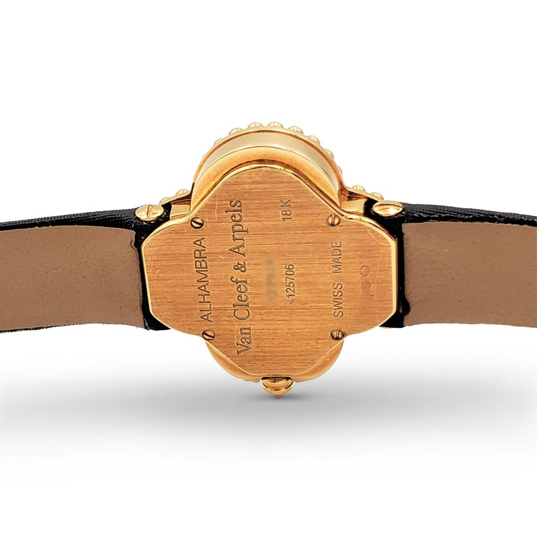 Van Cleef & Arpels 'Alhambra' Onyx Dial Watch, Small Model For Sale 2
