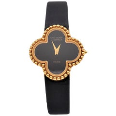 Van Cleef & Arpels 'Alhambra' Onyx Dial Watch, Small Model