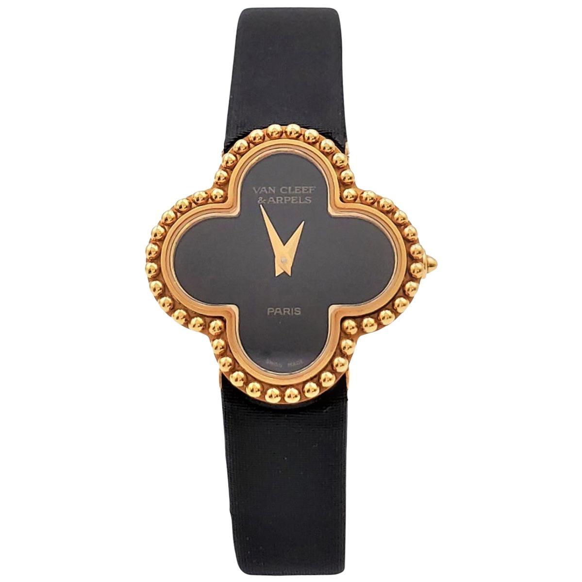 Van Cleef & Arpels 'Alhambra' Onyx Dial Watch, Small Model