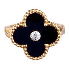 Van Cleef & Arpels Alhambra Onyx Diamond 18K Gold Ring