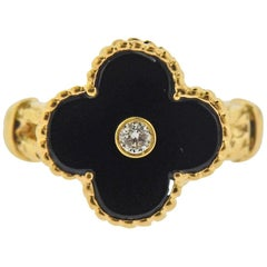 Van Cleef & Arpels Alhambra Onyx Diamond Gold Ring