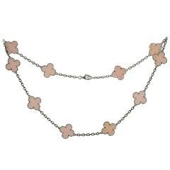 Van Cleef & Arpels Alhambra Pink Opal 18 Karat White Gold 10 Motif Necklace