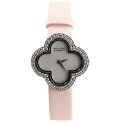 Van Cleef & Arpels Alhambra Quartz Watch White Gold and Satin with Diamond Bezel