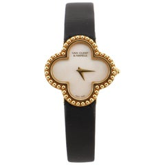 Van Cleef & Arpels Alhambra Quartz Watch Yellow Gold and Satin