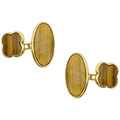 Van Cleef & Arpels Alhambra Tiger's Eye Cufflinks