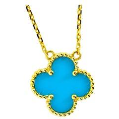 Van Cleef & Arpels Alhambra Turquoise and 18 Karat Gold Pendant