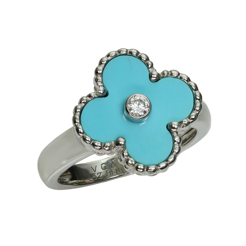 Van Cleef & Arpels Alhambra Turquoise Diamond White Gold Ring