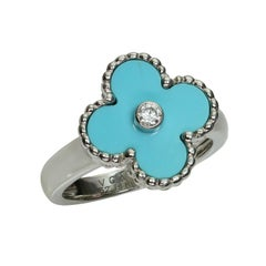 Van Cleef & Arpels Alhambra Turquoise Diamond White Gold Ring