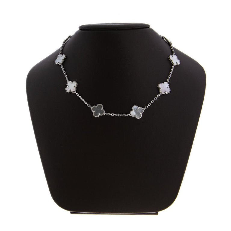 Women's Van Cleef & Arpels Alhambra White Gold 10 Motif Mother of Pearl Chain Necklace For Sale