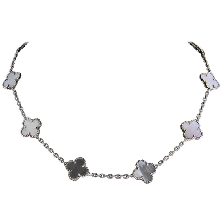 Van Cleef & Arpels Alhambra White Gold 10 Motif Mother of Pearl Chain Necklace For Sale