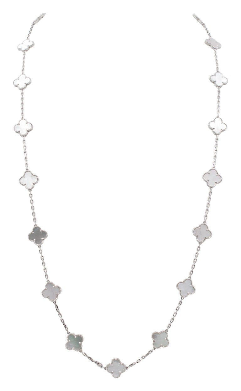 Modern Van Cleef & Arpels 'Alhambra' White Gold and Mother of Pearl 20 Motif Necklace