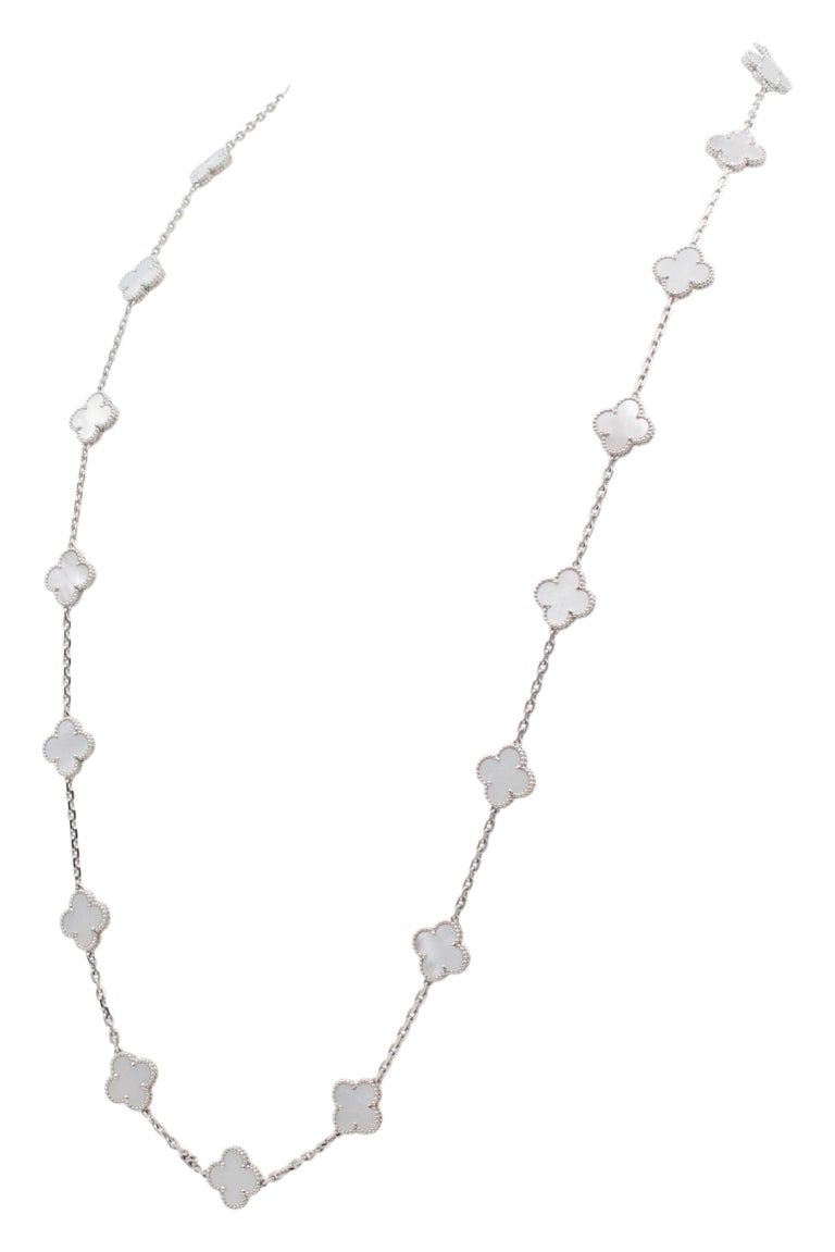 Van Cleef & Arpels 'Alhambra' White Gold and Mother of Pearl 20 Motif Necklace In Excellent Condition In New York, NY